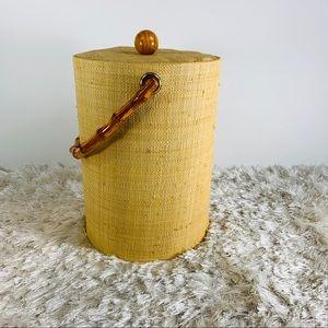 Vtg Woven Grass Ice Bucket Bamboo Handle